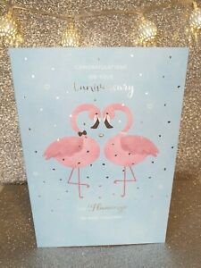 Happy Anniversary Flamingos Card Congratulations  FREE 1st Class Post