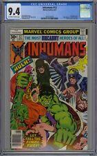 Inhumans #12 CGC 9.4 NM OwWp Vs Incredible Hulk Marvel Comics 1977 Milgrom Cover