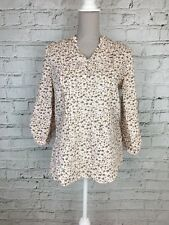 Womens TU Cream Pink Floral Print 1/2 Sleeve Linen Top Size 12