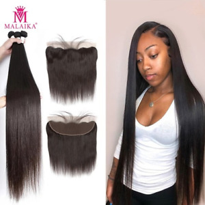 Straight Brazilian Weave Frontal Human Hair Bundles with Closure Hair Extension