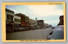 Rochester Minnesota MN Broadway South Store Signs Moreys Bar Cars Postcard 1950s