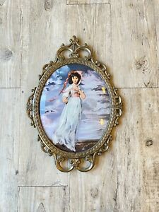 """vtg large gold oval ornate frame convex glass italy 12 x 9"""" woman romantic"""