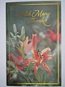 """Carlton Cards ~ """"WITH MANY THANKS"""" DAY LILY GREETING CARD + FOIL-LINED ENVELOPE"""