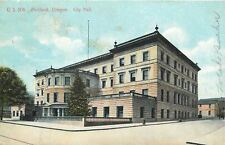 Portland Oregon~Rotund City Hall~Street Corner~Stone Fencing~1909 Postcard