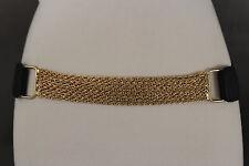 Women Black Stretch Waistband Special Fashion Belt Gold Metal Chain Buckle S M