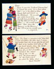 Scotland Comic promotional love romance fishing whisky x2 c1950/60s PPCs