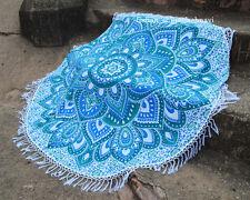 """46"""" Bohemian Mandala Beach Round Throw Roundie Yoga Mat Tapestry Hippie Fringes"""