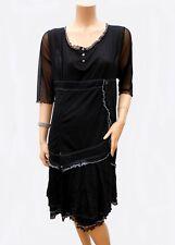 Robe IKEBANA T 54 XXXL noir Doublé Volants en résille Tunic Dress été
