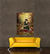 POSTER PRINT PAINTING DIGITAL FANTASY FOREST FLOWERS MEDIEVAL WOMAN PAMP242