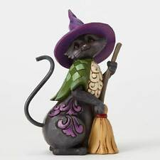 Jim Shore Pint Sized Halloween Black Cat w/Broom Figurine ~ 4053866