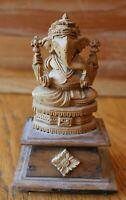 Elephant God Statue Hand made Carved Wooden Buddha Ganesh Hindu Vintage wood