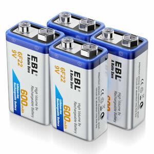 9V 6F22 - 1 / 2 / 4 Pack 600mAh Battery 9V Li-ion Rechargeable Batteries