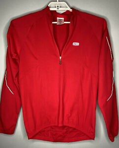 Louis Garneau Mens G11 Cycling Jersey Medium Red Long Sleeve 1/4 Zip Pullover