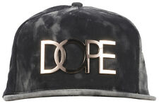 Dope Crystal Wash Gold Logo Snapback Hat Headwear Cap Metal Streetwear Black