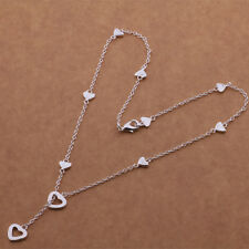 "Shiny 925 Sterling Silver Plated Cut out Heart Lariat Pendant Necklace 18"" Gift"