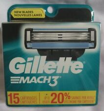 New Gillette Mach3 Shaving Razor Blades - 15 Cartridges - Mach 3 Refil Heads