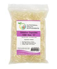 1000 Empty Clear Hard Gelatin Capsules - Size 0