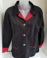 CHICOS Faux Suede Button Down 3/4 Sleeve Red Accents Shirt Jacket Size 1 SMALL