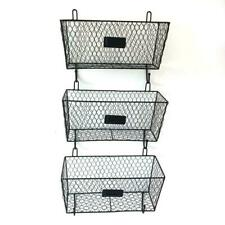 3pcs Wall Mounted Metal Fruit Magazine Basket Kitchen Storage Rack Organizer