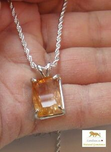 11.45 ct  Rare Reddish Imperial Topaz Silver Gemstone Pendant  ( Mine Depleted )