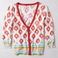 Moth Anthropologie Karnali Geometric Ikat Printed Cardigan Sweater Orange Size M