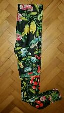 TROPICAL flowers black women leggings. yoga, Bikram, dance, fitness, pilates S/M