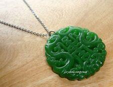Feng Shui - Dark Green Jade Longevity Symbol with Bat and Dragon Necklace