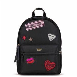 VICTORIA'S SECRET Nylon Patch Backpack In Black BNWOT!