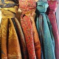 5 PC lot Indian Vintage Silk Scarf Scarves Kantha Stole Wrap Sari handmade Rate
