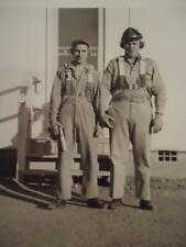 Vtg WWII WW2 Photo Soldier Pilot Crush Pattern Hat w/ Headphones Flight Suit Org