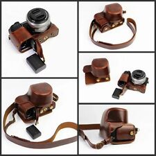 Bottom Opening PU Leather Camera Case Bag For Sony A6300 A6000 16-50mm Coffee