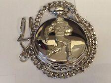 American Football Runner GT18 Pewter on a Silver Pocket Watch Quartz fob