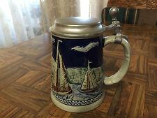 "Vintage Pewter Lidded ""SAILING"" Cobalt Ceramic Stein Mug - Wandertag Volksmarch"