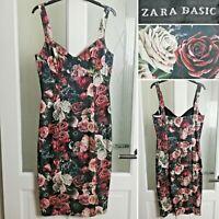 Zara Photograph Floral Print Bustier Dress M UK 10 Wiggle Pencil Dress Roses