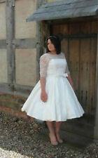 Tea Length Half Sleeve Wedding Dress Bridal Gown Plus Size Custom 18 20 22 24+++