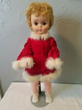 Retro Plastic 19-Inch Unmarked Sleepy-Eye Blonde Doll with Metal Stand