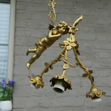 Antique French Bronze Winged putti angel figurine chandelier pendant lamp 3 arm
