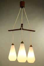 Teak Glas Pendel Leuchte Kaskaden Lampe Dänemark Vintage 60er Jahre