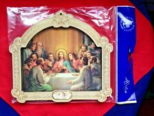 "LAST SUPPER 9"" MULTI-LAYERED WOODEN GOLD FOIL WALL PLAQUE Italy NEW Stunning."