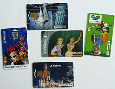 "Lot x 5 cartes téléphone ""Disneyland Paris"" télécartes Phonecards"