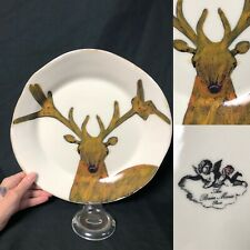 Elk Deer Plate Au Bain Marie Paris Handpainted Majolica