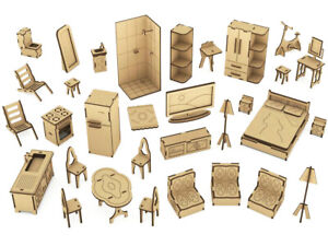 32pc 1:12 Doll House Furniture, Wood DIY Dollhouse Miniatures Kit, Gift Toy Kids