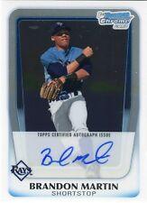 2011 Bowman Chrome Brandon Martin On Card Autograph BCAP-BM Tampa Bay Rays