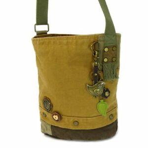 New Chala Messenger Patch Crossbody Brown Bag Canvas gift METAL BIRD