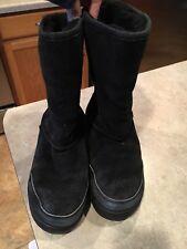 Women's Bearpaw Boots Emma Pull On Black Suede Wool Blend size W7 EUC!