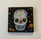 Day of the Dead Mexican Folk Art Skull Floral Painting Halloween Signed Plaque