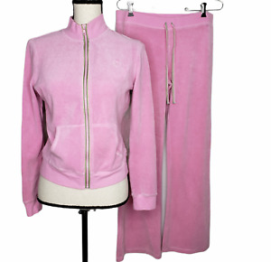 Lilly Pulitzer Small Track Suit Full Zip Jacket Pockets Pants Pink Terry Velour