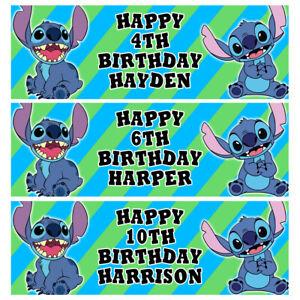 DISNEY STITCH Personalised Birthday Banner - Ariel Birthday Party Banner - D2