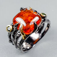 Vintage Natural Amber 925 Sterling Silver Ring Size 9/R123466