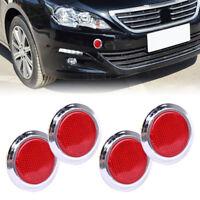 4pcs Red Chrome Car Reflective Sticker Safety Warning Reflector Self Adhesive